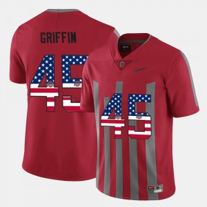 #45 Archie Griffin Ohio State Buckeyes US Flag Fashion Mens Jersey - Scarlet
