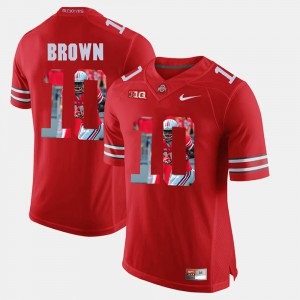 #10 CaCorey Brown Ohio State Buckeyes Men's Pictorial Fashion Jersey - Scarlet