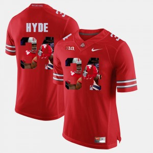 #34 CameCarlos Hyde Ohio State Buckeyes For Men Pictorial Fashion Jersey - Scarlet