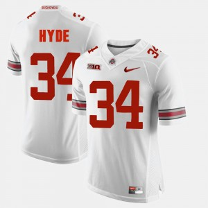 #34 CameCarlos Hyde Ohio State Buckeyes For Men Alumni Football Game Jersey - White