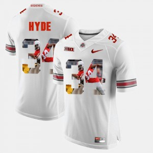 #34 CameCarlos Hyde Ohio State Buckeyes Pictorial Fashion For Men's Jersey - White