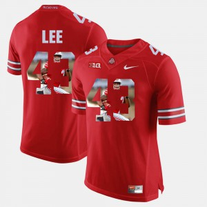 #43 Darron Lee Ohio State Buckeyes Pictorial Fashion For Men's Jersey - Scarlet