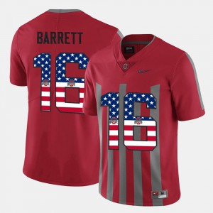 #16 J.T. Barrett Ohio State Buckeyes For Men's US Flag Fashion Jersey - Scarlet