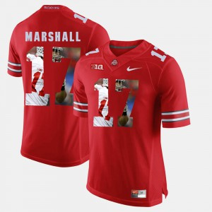 #17 Jalin Marshall Ohio State Buckeyes Pictorial Fashion Mens Jersey - Scarlet