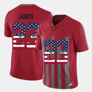 #23 Lebron James Ohio State Buckeyes US Flag Fashion Men Jersey - Scarlet