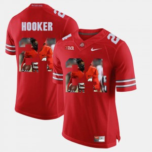 #24 Malik Hooker Ohio State Buckeyes Pictorial Fashion For Men's Jersey - Scarlet
