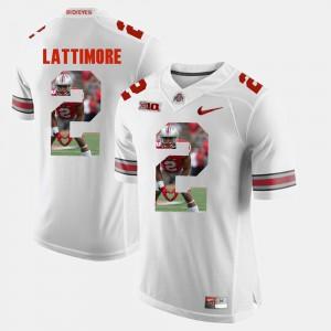 #2 Marshon Lattimore Ohio State Buckeyes For Men's Pictorial Fashion Jersey - White