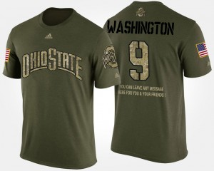 #9 Adolphus Washington Ohio State Buckeyes For Men Short Sleeve With Message Military T-Shirt - Camo
