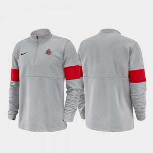 Ohio State Buckeyes For Men's Half-Zip Performance 2019 Coaches Sideline Jacket - Anthracite