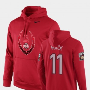 #11 Austin Mack Ohio State Buckeyes Men's Icon Circuit Football Performance Hoodie - Scarlet