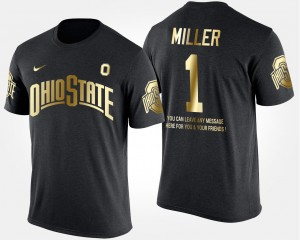 #1 Braxton Miller Ohio State Buckeyes For Men's Short Sleeve With Message Gold Limited T-Shirt - Black