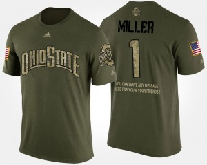 #1 Braxton Miller Ohio State Buckeyes Short Sleeve With Message Military For Men T-Shirt - Camo