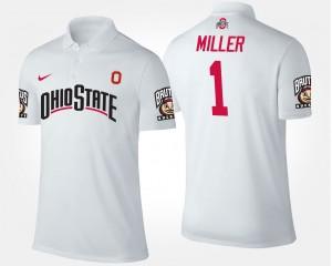 #1 Braxton Miller Ohio State Buckeyes Men's Polo - White