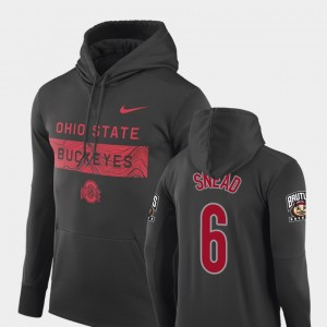 #6 Brian Snead Ohio State Buckeyes Sideline Seismic For Men Football Performance Hoodie - Anthracite