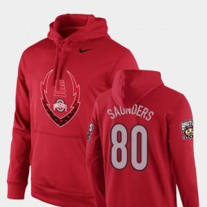 #80 C.J. Saunders Ohio State Buckeyes Football Performance Icon Circuit Men's Hoodie - Scarlet