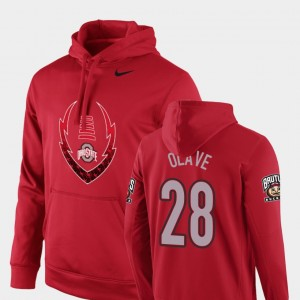 #28 Chris Olave Ohio State Buckeyes Men's Football Performance Icon Circuit Hoodie - Scarlet