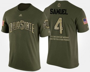 #4 Curtis Samuel Ohio State Buckeyes Military For Men Short Sleeve With Message T-Shirt - Camo