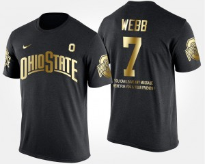 #7 Damon Webb Ohio State Buckeyes Gold Limited Men's Short Sleeve With Message T-Shirt - Black
