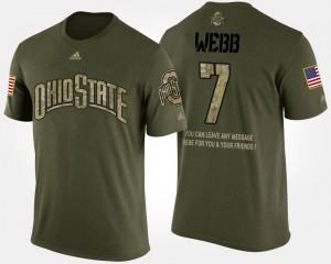 #7 Damon Webb Ohio State Buckeyes Short Sleeve With Message Military For Men T-Shirt - Camo