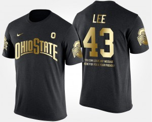 #43 Darron Lee Ohio State Buckeyes Mens Gold Limited Short Sleeve With Message T-Shirt - Black