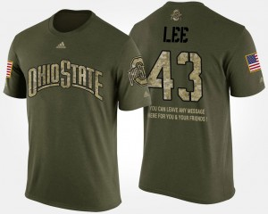 #43 Darron Lee Ohio State Buckeyes Military Short Sleeve With Message For Men T-Shirt - Camo