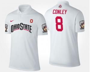 #8 Gareon Conley Ohio State Buckeyes Men Polo - White
