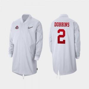 #2 J.K. Dobbins Ohio State Buckeyes For Men's Full-Zip Sideline 2019 College Football Playoff Bound Jacket - White
