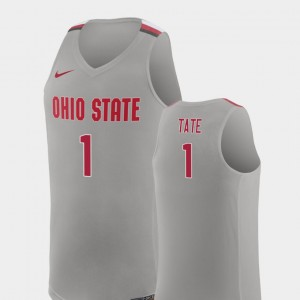 #1 Jae'Sean Tate Ohio State Buckeyes Mens College Basketball Replica Jersey - Pure Gray