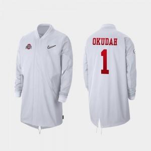 #1 Jeff Okudah Ohio State Buckeyes Full-Zip Sideline 2019 College Football Playoff Bound Men Jacket - White