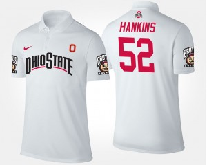 #52 Johnathan Hankins Ohio State Buckeyes For Men's Polo - White