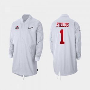 #1 Justin Fields Ohio State Buckeyes 2019 College Football Playoff Bound Men Full-Zip Sideline Jacket - White
