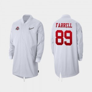 #89 Luke Farrell Ohio State Buckeyes Men's 2019 College Football Playoff Bound Full-Zip Sideline Jacket - White