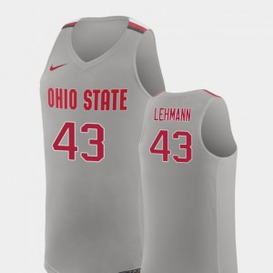 #43 Matt Lehmann Ohio State Buckeyes For Men Replica College Basketball Jersey - Pure Gray