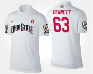 #63 Michael Bennett Ohio State Buckeyes Mens Polo - White