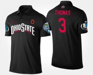 #3 Michael Thomas Ohio State Buckeyes Bowl Game Big Ten Conference Cotton Bowl For Men's Polo - Black