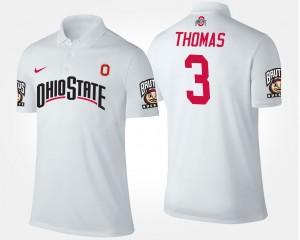 #3 Michael Thomas Ohio State Buckeyes Men's Polo - White
