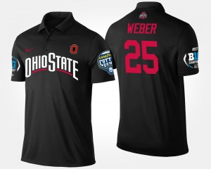 #25 Mike Weber Ohio State Buckeyes Big Ten Conference Cotton Bowl Bowl Game Mens Polo - Black