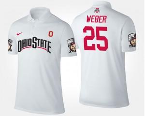 #25 Mike Weber Ohio State Buckeyes Men Polo - White