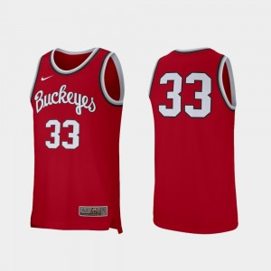 #33 Ohio State Buckeyes Men's Retro Performance College Basketball Jersey - Scarlet