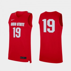 #19 Ohio State Buckeyes Mens Replica College Basketball Jersey - Scarlet