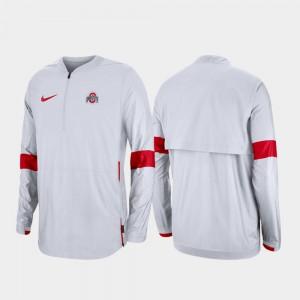 Ohio State Buckeyes 2019 Coaches Sideline Quarter-Zip Men's Jacket - White