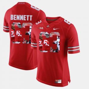 #63 Michael Bennett Ohio State Buckeyes Pictorial Fashion Mens Jersey - Scarlet