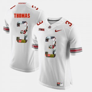 #3 Michael Thomas Ohio State Buckeyes Pictorial Fashion Men's Jersey - White