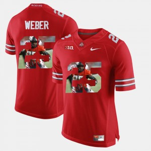 #25 Mike Weber Ohio State Buckeyes Men Pictorial Fashion Jersey - Scarlet