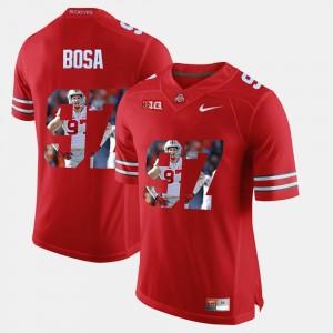 #97 Nick Bosa Ohio State Buckeyes Pictorial Fashion Men's Jersey - Scarlet