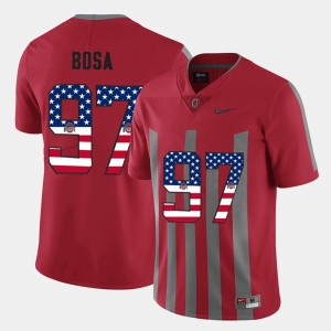 #97 Nick Bosa Ohio State Buckeyes US Flag Fashion For Men's Jersey - Scarlet