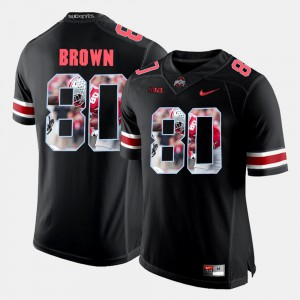 #80 Noah Brown Ohio State Buckeyes Pictorial Fashion For Men Jersey - Black
