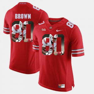#80 Noah Brown Ohio State Buckeyes Pictorial Fashion For Men Jersey - Scarlet
