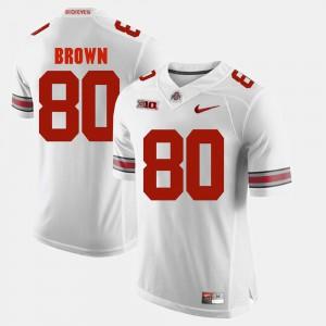 #80 Noah Brown Ohio State Buckeyes Men's Alumni Football Game Jersey - White