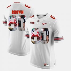 #80 Noah Brown Ohio State Buckeyes Men's Pictorial Fashion Jersey - White